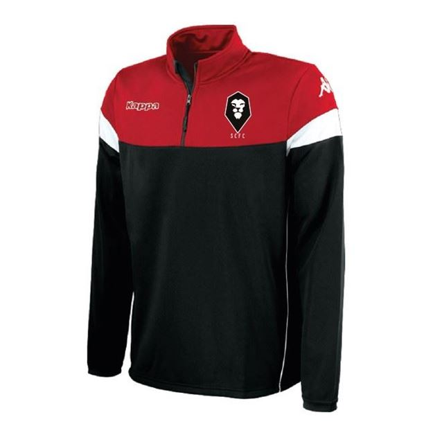 Picture of SALFORD CITY JUNIOR Kappa Novare 1/4 Zip Top in Red/Black