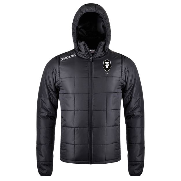 Picture of SALFORD CITY JUNIOR Kappa Black Waples Hooded Puffer Jacket